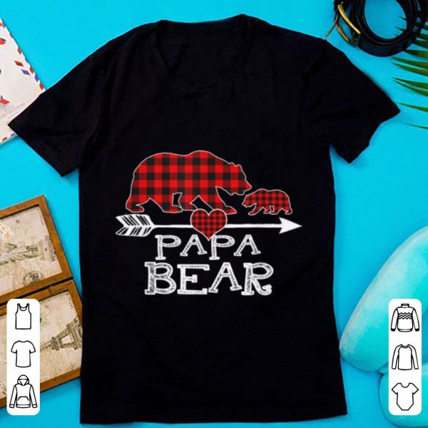 Pretty Red Plaid Papa Bear One Cub Matching Buffalo Pajama Xmas shirt