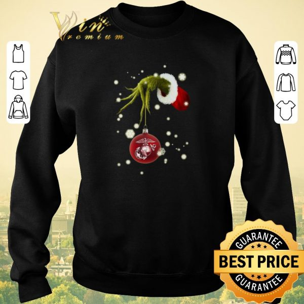 Top Grinch holding United States Marine Corps shirt sweater