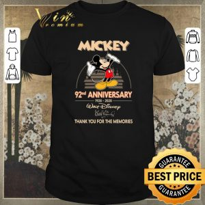 Top Thank you for the memories Mickey 92nd anniversary 1928-2020 shirt