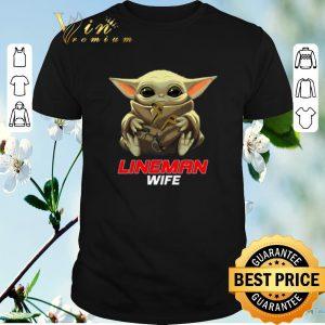 Awesome Baby Yoda hug Lineman Wife Star Wars Mandalorian shirt sweater
