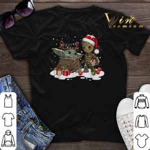 Baby Yoda reindeer and Baby Groot santa Christmas shirt sweater