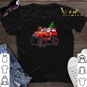 Christmas Tree Santa And Reindeer On Monster Truck shirt