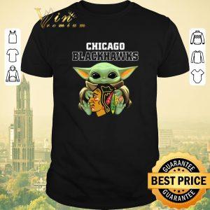 Funny Baby Yoda Hug Chicago Blackhawks Star Wars Mandalorian shirt sweater