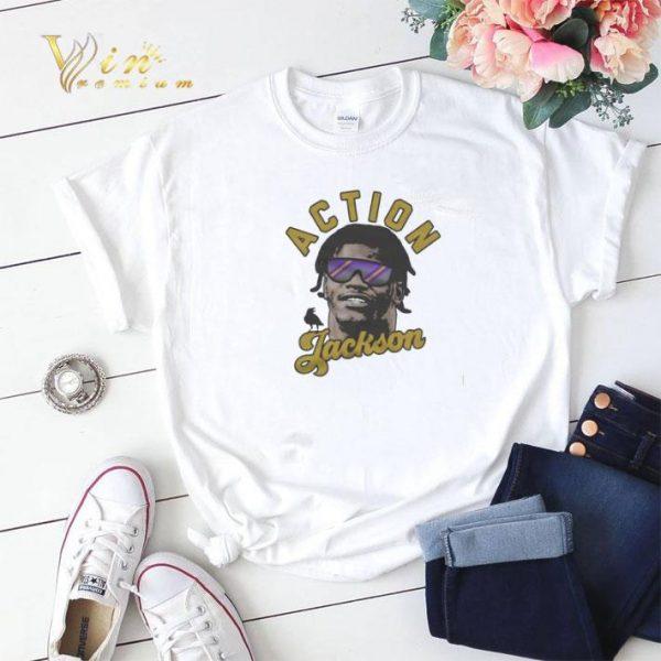 Lamar Jackson Action Jackson Baltimore Ravens shirt sweater