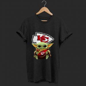 Nice Star Wars Football Baby Yoda Hug Kansas City Chiefs shirt