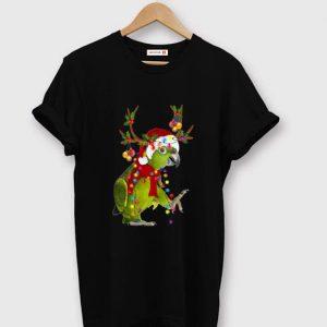 Premium Santa Parrot Reindeer christmas light shirt