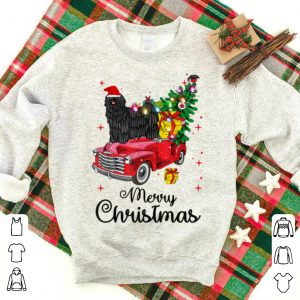 Pretty Puli Rides Red Truck Christmas Pajama sweater