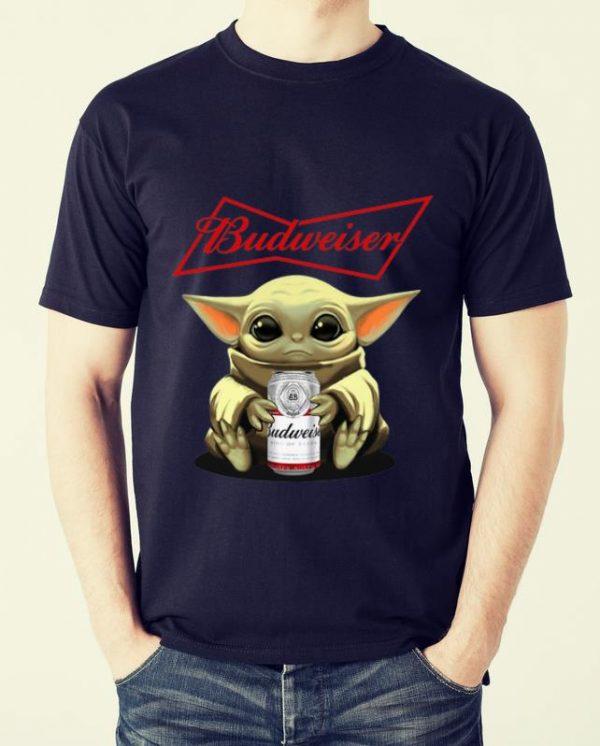 Pretty Star Wars Baby Yoda Hug Budweiser shirt