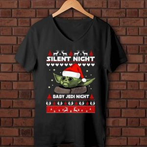 Top Silent Night baby Jedi Knight ugly christmas Baby Yoda shirt