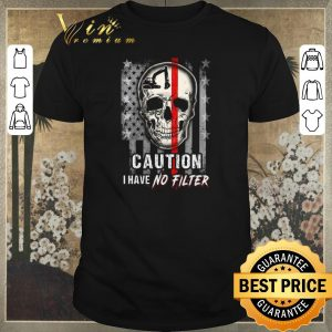 Top Skull Operator Caution I have no Filter American flag shirt sweater