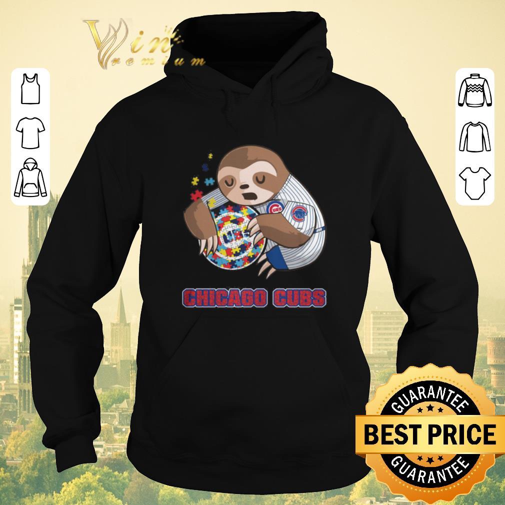 Top Sloth hug Autism Chicago Cubs shirt sweater 4 - Top Sloth hug Autism Chicago Cubs shirt sweater