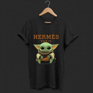 Awesome Baby Yoda hug Hermes Paris shirt