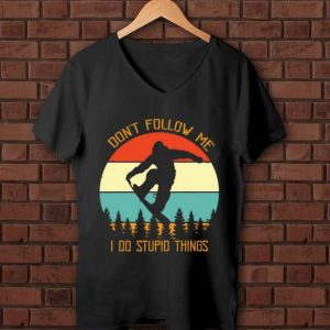 Awesome Bigfoot snowboard don't follow me I do stupid things vintage shirt