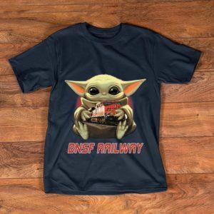 Funny Baby Yoda Hug BNSF Railway shirt