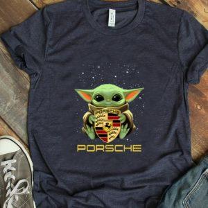 Hot Star Wars Baby Yoda hug Porsche AG logo shirt