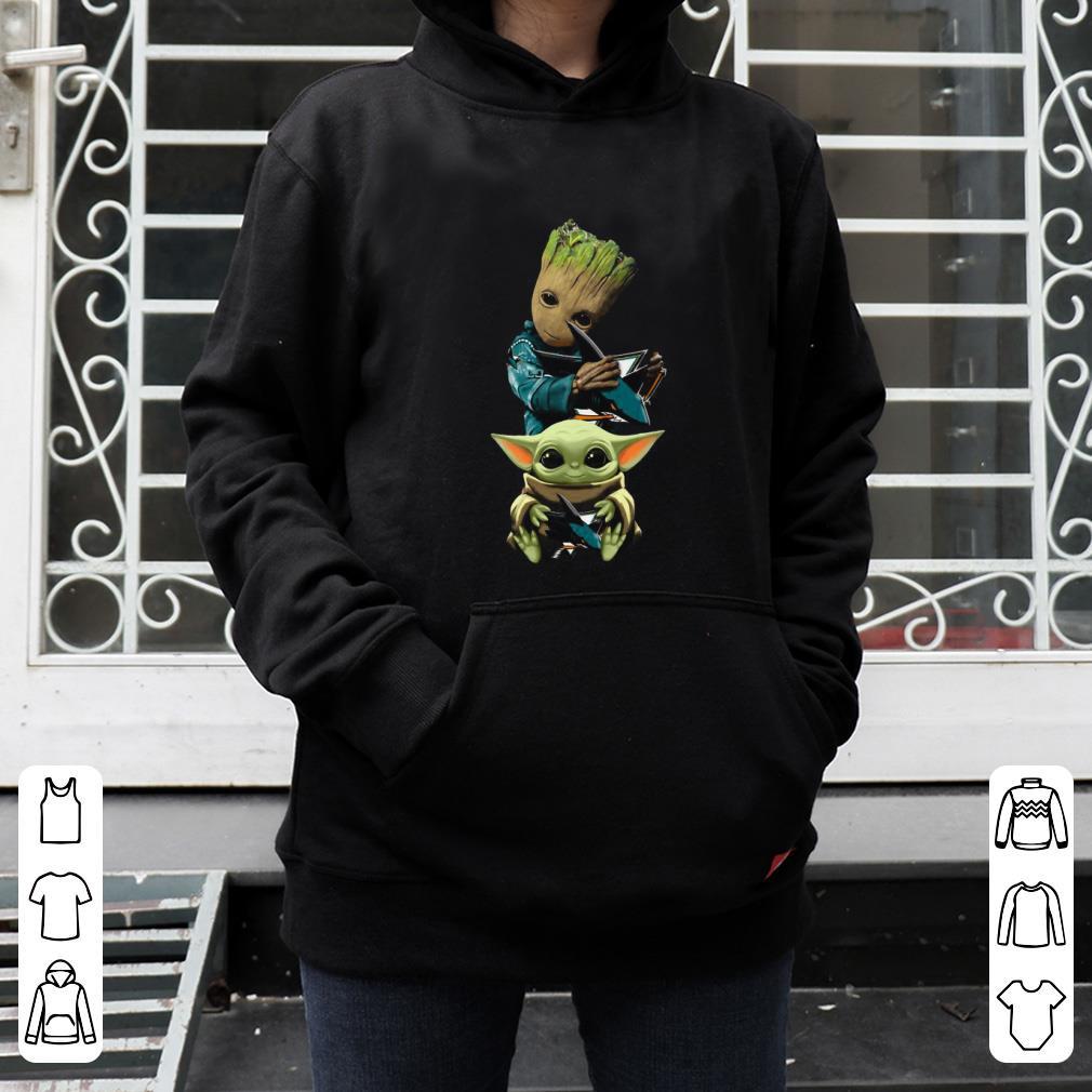 Premium Baby Yoda and Baby Groot hug San Jose Sharks shirt 4 - Premium Baby Yoda and Baby Groot hug San Jose Sharks shirt