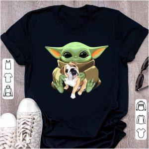 Premium Star Wars Baby Yoda Hug Bulldog shirt