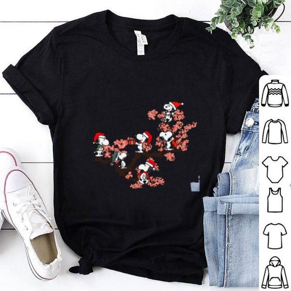 Snoopy under cherry blossom shirt