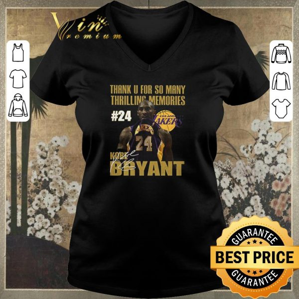 Awesome Thank u for so many thrilling memories #24 Lakers Kobe Bryant signed shirt sweater