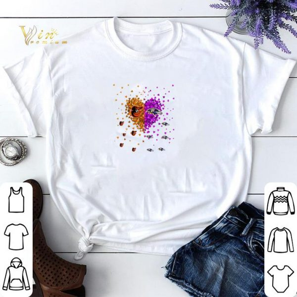 Baltimore Orioles and Baltimore Ravens heart shirt sweater