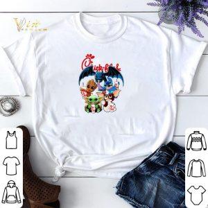 Chick Fil A Mashup Baby Yoda Baby Groot Toothless Stitch Gizmo shirt sweater