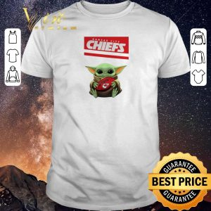 Funny Baby Yoda hug Kansas City Chiefs Ball Logo Star Wars shirt sweater