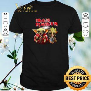 Nice Iron Maiden Baby Yoda and Baby Groot play guitar shirt sweater