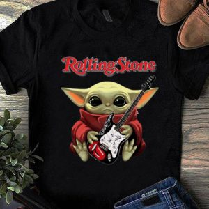 Official Star Wars Baby Yoda Hug Guitar Rolling Stone shirt