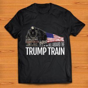 Premium All Aboard The Trump Train Trump 2020 American Flag shirt