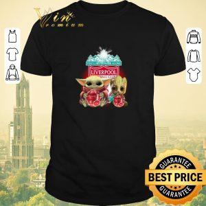 Premium Baby Yoda and Baby Groot hug Liverpool You'll never walk alone shirt sweater