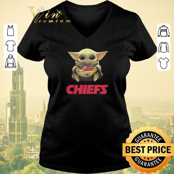 Premium Baby Yoda hug Kansas City Chiefs Logo ball Star Wars shirt sweater