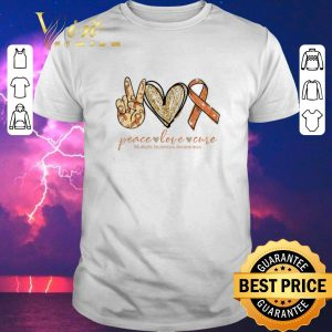 Top Peace love cure Multiple Sclerosis Awareness shirt sweater