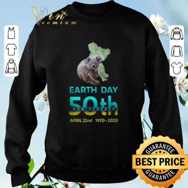 Funny Koala Silhouette earth day 50th anniversary april 22nd 1970-2020 shirt sweater