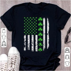 Great Vintage America-n Us-a Flag, St Patricks Day Lucky Shamrock shirt