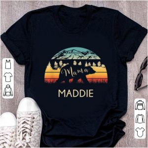 Hot Maddie Name Gift Retro Sun Personalized Mama Bear shirt
