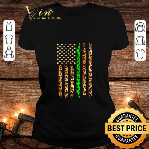 Hot Thin Green Line Leopard American Flag shirt