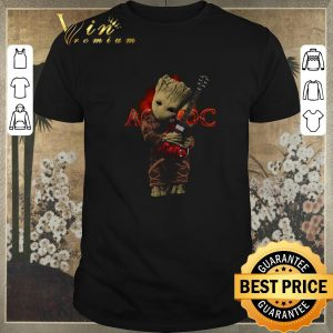 Nice Baby Groot hug ACDC logo guitarist shirt sweater