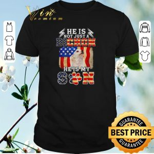 Pretty He is not just a Bichon he is my son American flag shirt sweater