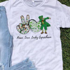 Pretty Peace Love Lucky Leprechaun St. Patrick's Day shirt