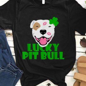Top Lucky Pit-bull Dog Love-r Dad Mom Boy Girl St Patrick Funny shirt