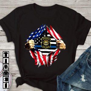 Original Michigan State Police American Flag Blood Inside shirt