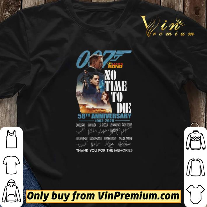 007 James Bond No Time To Die 58th Anniversary 1962 2020 Signature Thank You shirt sweater