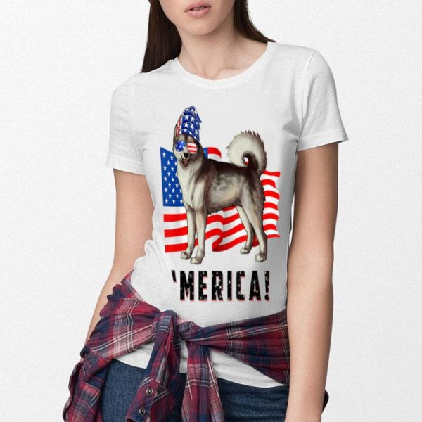 4th Of July Alaskan Malamute Dog Merica Tee Shirt