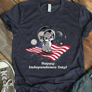 4th Of July Space Cat American Flag Shirt