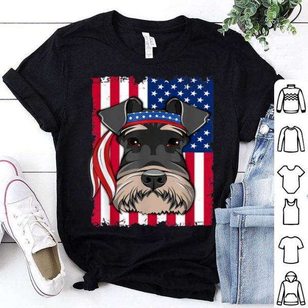 4th of July merica patriotic USA Flag Schnauzer shirt
