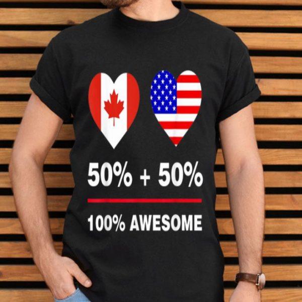 50 Percent Canadian 50 Percent American-america Canada Flag shirt