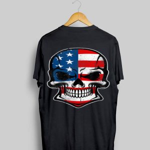 American Flag Skull Human Skeleton For Biker Daddy shirt