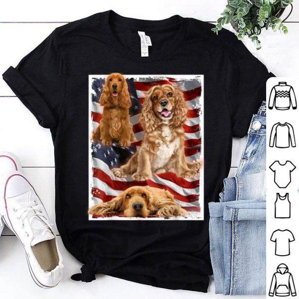 Patriotic Dog Cocker Spaniel Usa American Flag Tee Shirt