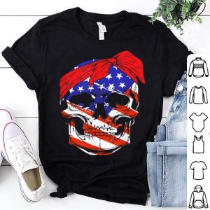 Skull American Flag Wear Red Bow Independence Day shirt
