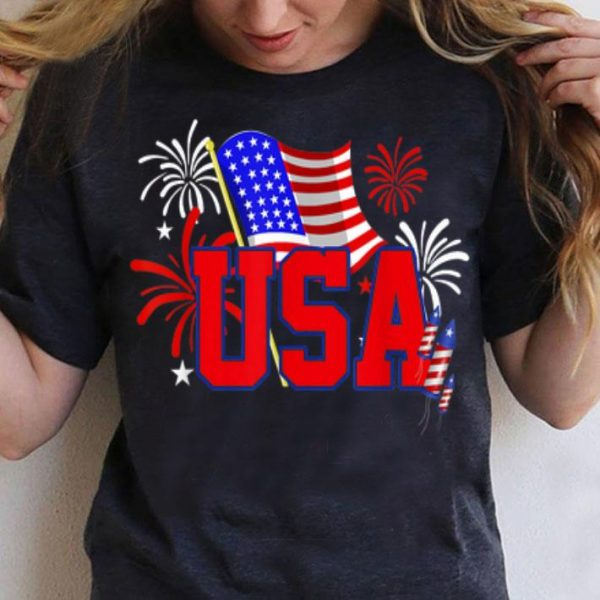 USA Fireworks 4th Of July Patriotic shirt